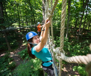 Challenge yourself on the aerial courses