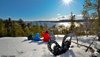 Snowshoeing, view of the Saguenay Fjord