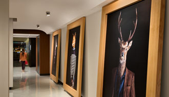 Admire the collection of original works of art in the hotel PUR lobby