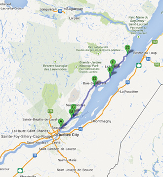 Google Road Trip Map Travelling to Tadoussac!