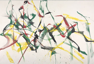 Marcel Barbeau, Kitchenombi, nº 4, 1972. Acrylic on canvas, 260.7 × 389.3 cm. Collection of the Musée national des beaux arts du Québec, Quebec. Purchase (1973.574)© Marcel Barbeau Estate. Photo : MNBAQ, Idra Labrie