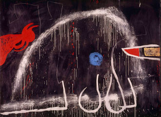 Joan Miró, Peinture (Painting), around 1974. Oil, acrylic and chalk on canvas, 270.5 x 355 cm. Fundació Pilar i Joan Miró a Mallorca (FPJM-53) © Successió Miró / SOCAN, Montréal / ADAGP, Paris (2019)